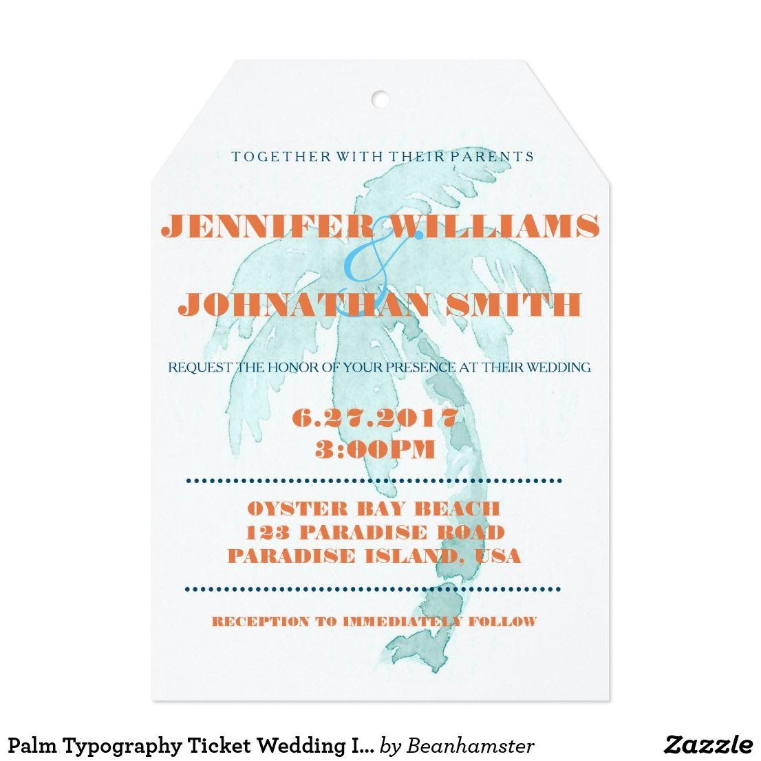 Palm Typography Ticket Wedding Invitations Destination Wedding