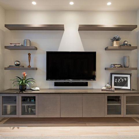 Naples Beach Coastal Retreat Entertainment Center Modern Wohnzimmer Wall Shelves Living Room Living Room Shelves