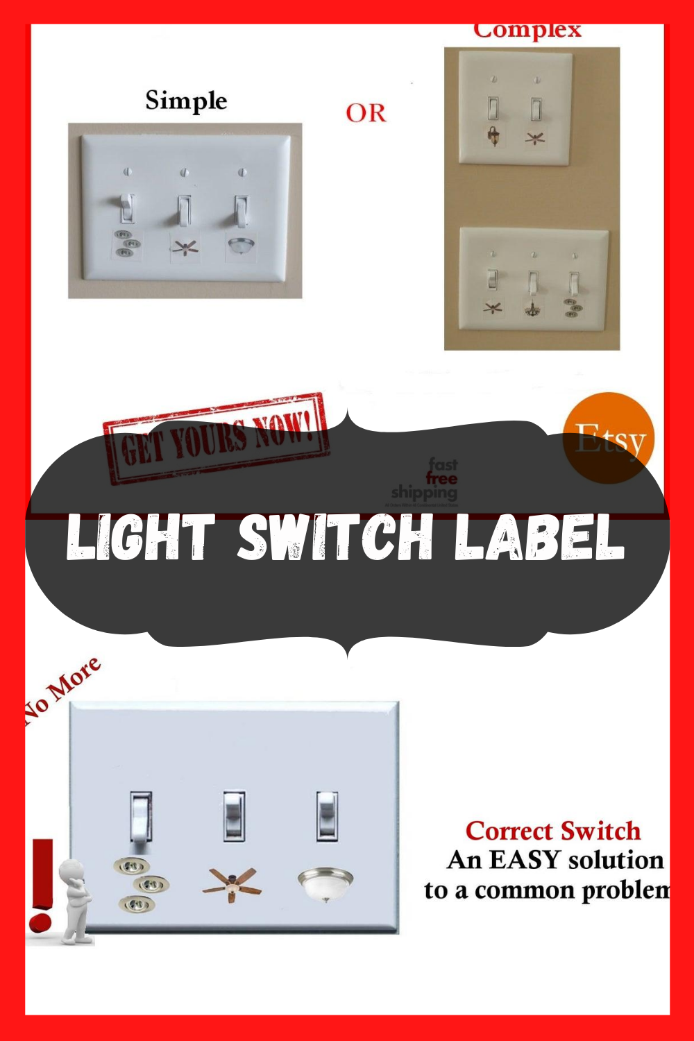 Light Switch Labels To Identify Every Light At Home Light Switch Ceiling Fan Switch Recessed Lighting