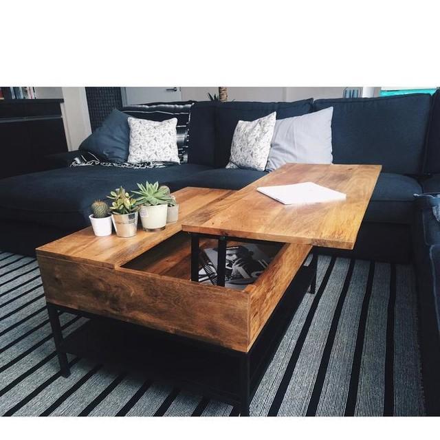 Lomond Table Basse Avec Plateau Relevable Et Compartiment De Rangement Bois De Manguier Et Metal Noir En 2020 Table Basse Avec Plateau Relevable Table Basse Et