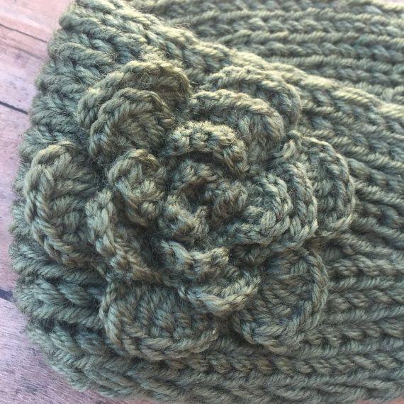 Sage green - Ear Warmers - Winter headband - crochet ear warmer ...