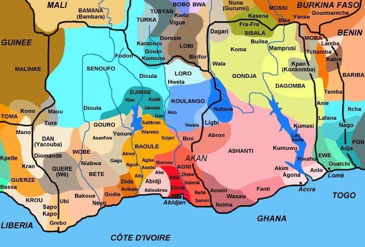 Cote Ivoire Ghana Togo Carte Ethnies Afrique Maps Carte Carte