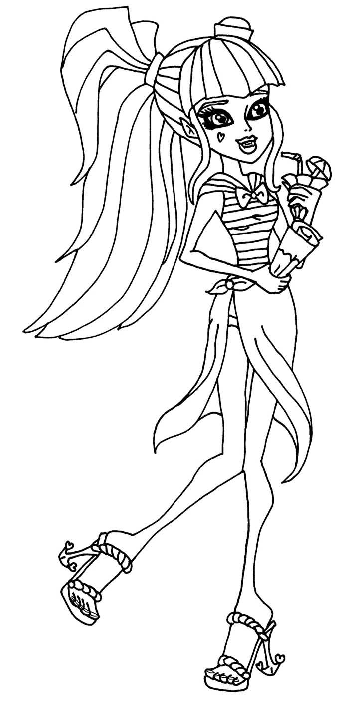 draculaura runs alongside the beach coloring pages monster high coloring pages kidsdrawing free coloring pages online