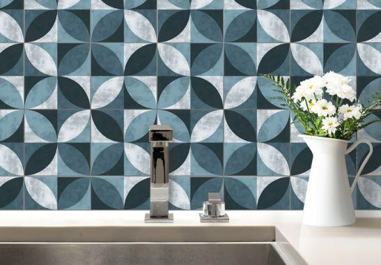 Adesivi murali adesivo per piastrelle fiore astratto blu
