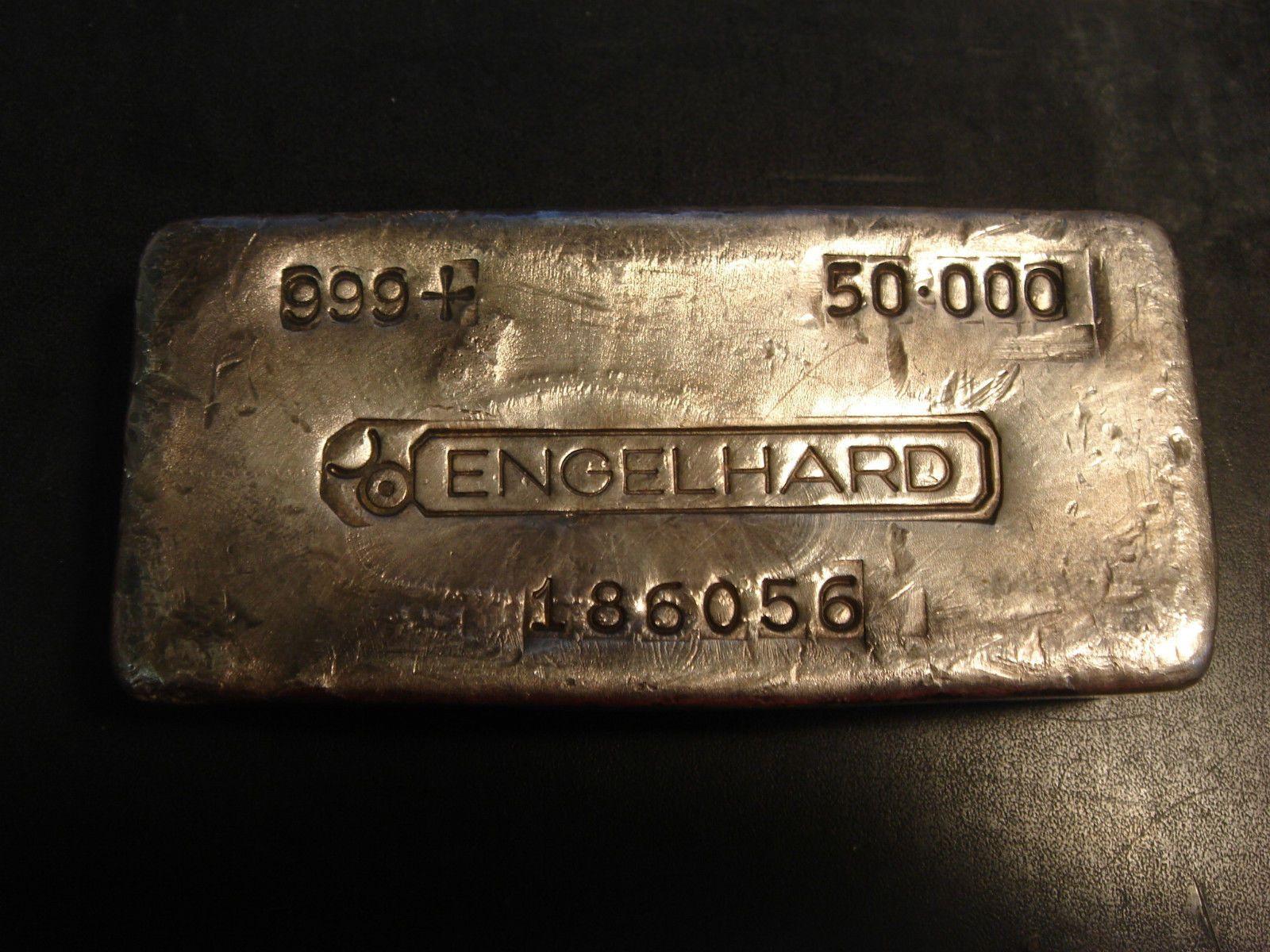 Engelhard Bullhorns Old Poured Loaf 50 Oz 999 Silver Bar Vintage Collectible Silver Bullion Silver Bars Silver Gold