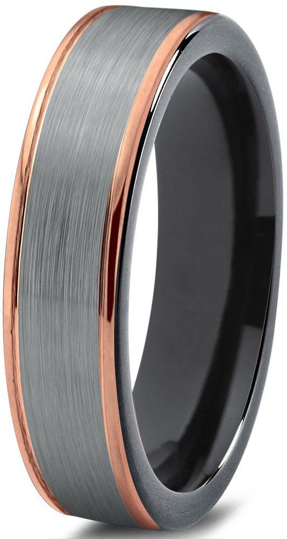 Tungsten Wedding Band Ring 6mm for Men Women Black & 18K