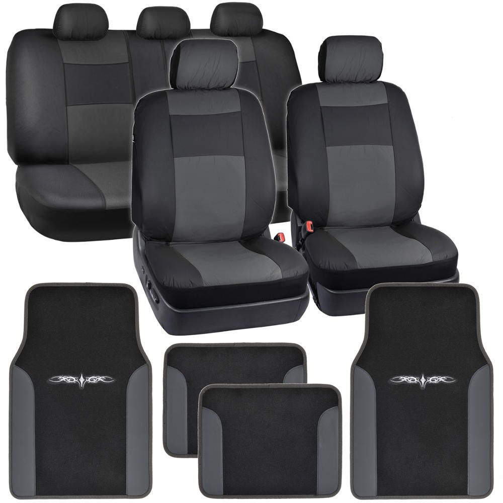 Seat Covers for Auto Black with Beige Leather Trim Carpet Floor Mats
