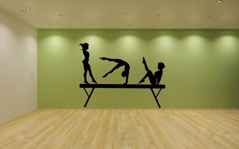 5361H   Gymnast Balance Beam Wall Decal Sticker Graphic Mural
