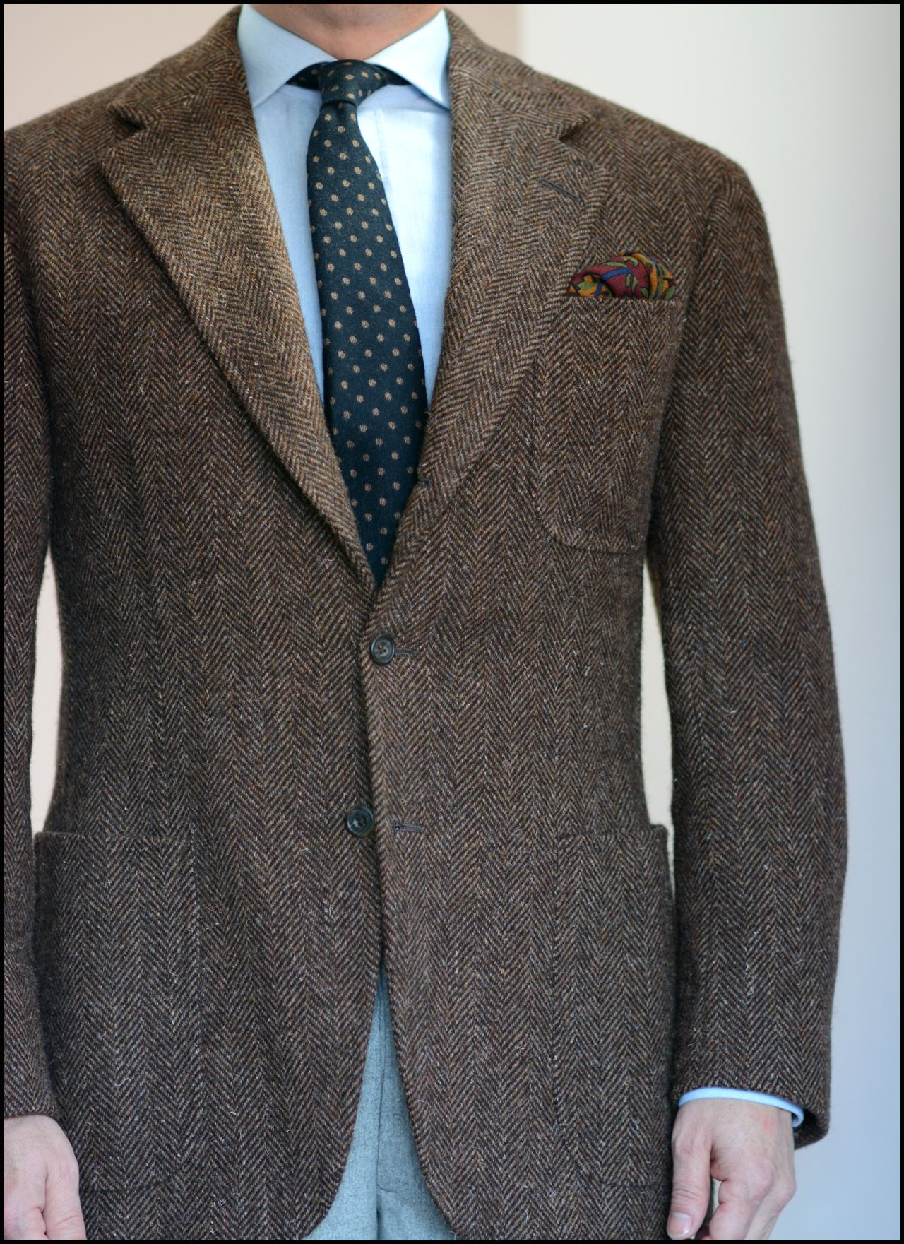 heavy tweed jacket cashmere tie chambray shirt wool