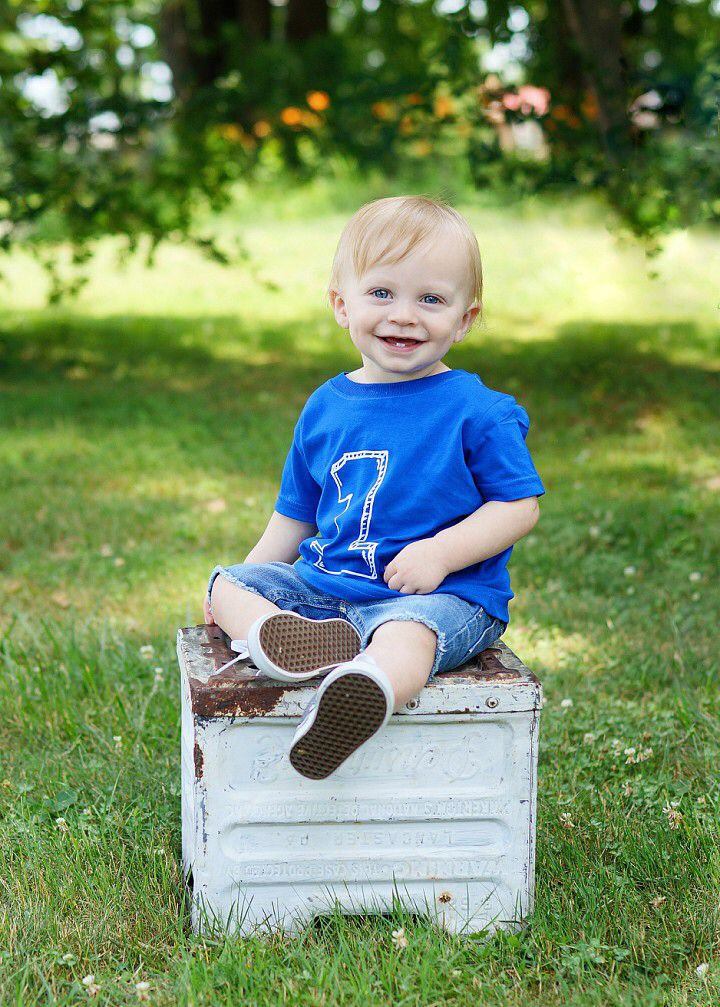 Baby boy first birthday photos with crate so cute time