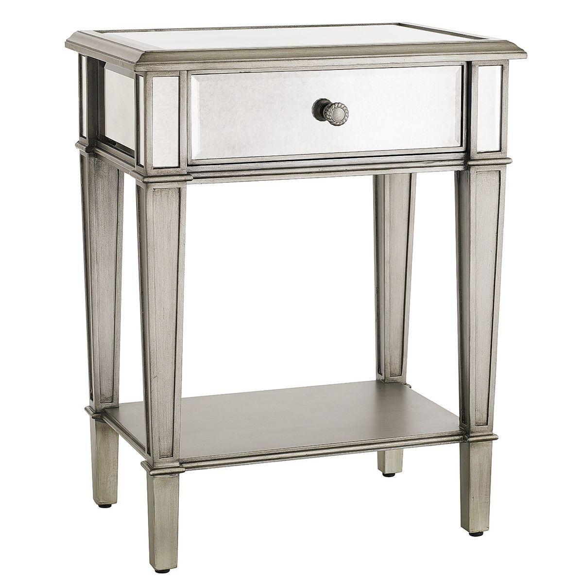 Hayworth Mirrored Silver Nightstand Mirrored Nightstand