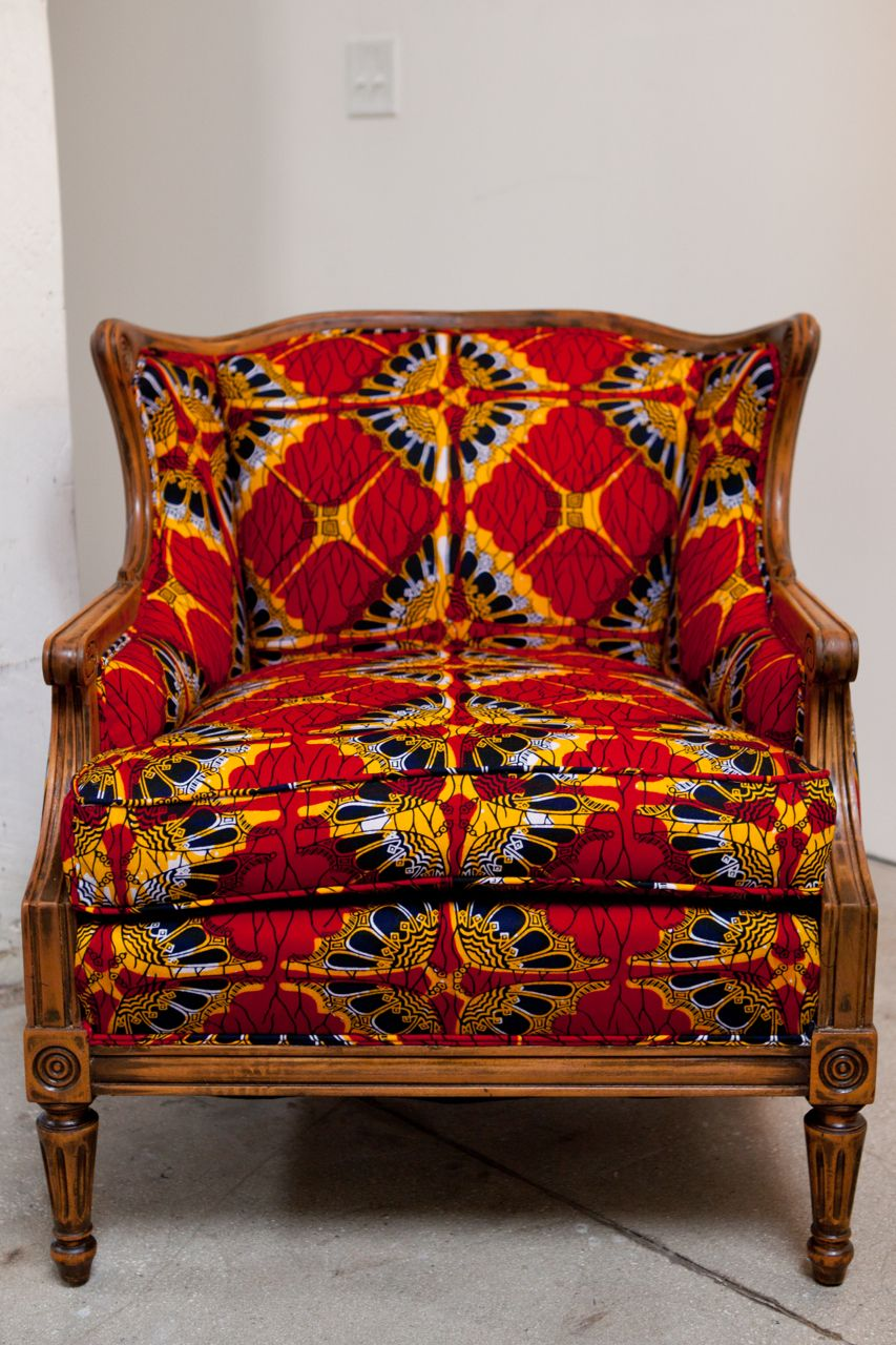 African print fabric upholstered chair- interesting ...