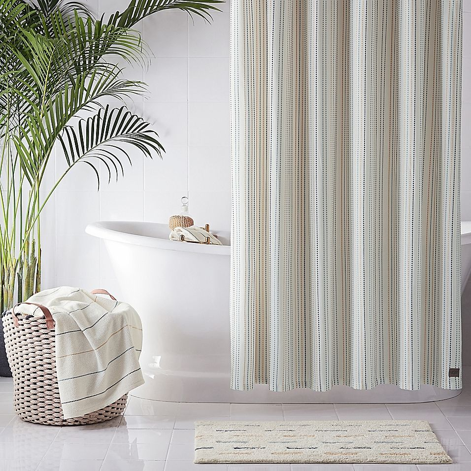 Ugg Skye Striped 72 X 96 Shower Curtain In Ivory Green Striped