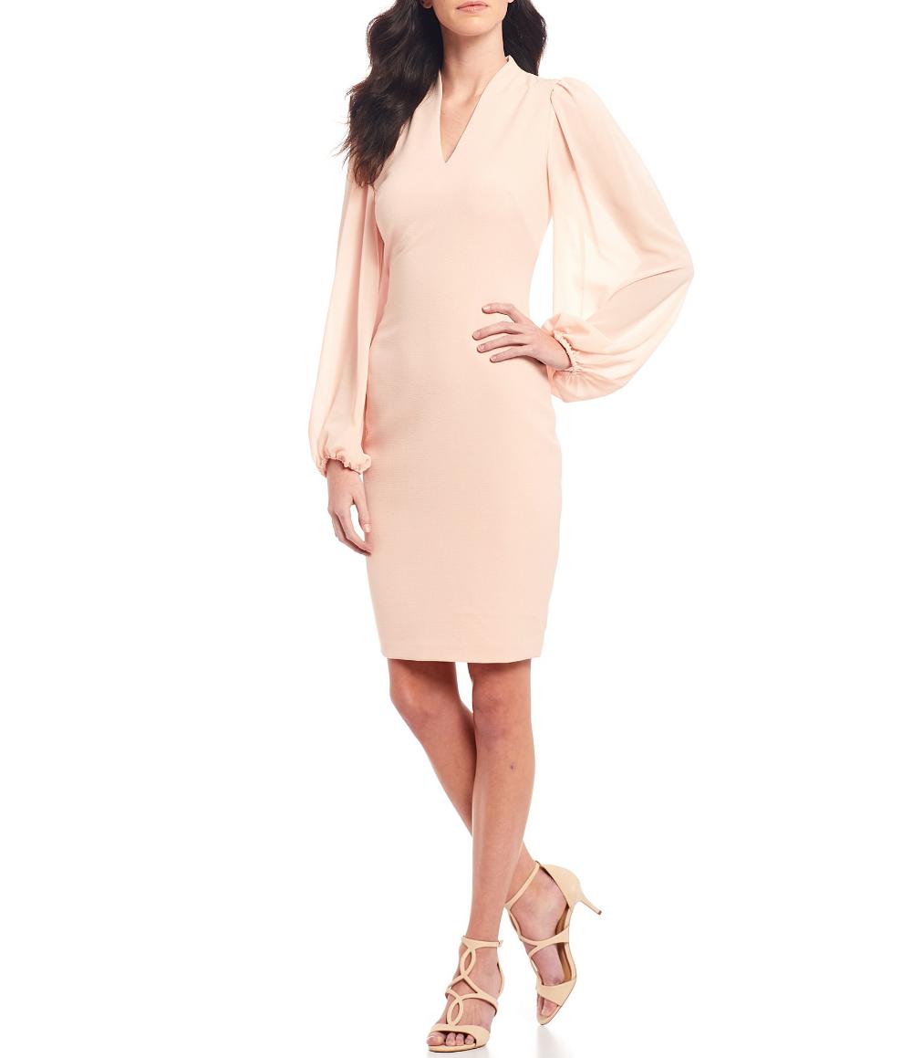Vince Camuto V Neck Long Chiffon Sleeve Crepe Sheath Dress Dillard S Chiffon Dresses With Sleeves Dresses Sheath Dress [ 1159 x 1000 Pixel ]