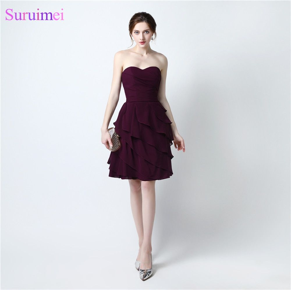 Free shipping fast delivery dark purple short bridesmaid dresses free shipping fast delivery dark purple short bridesmaid dresses 2017 maid of honor robe de mariage ombrellifo Image collections