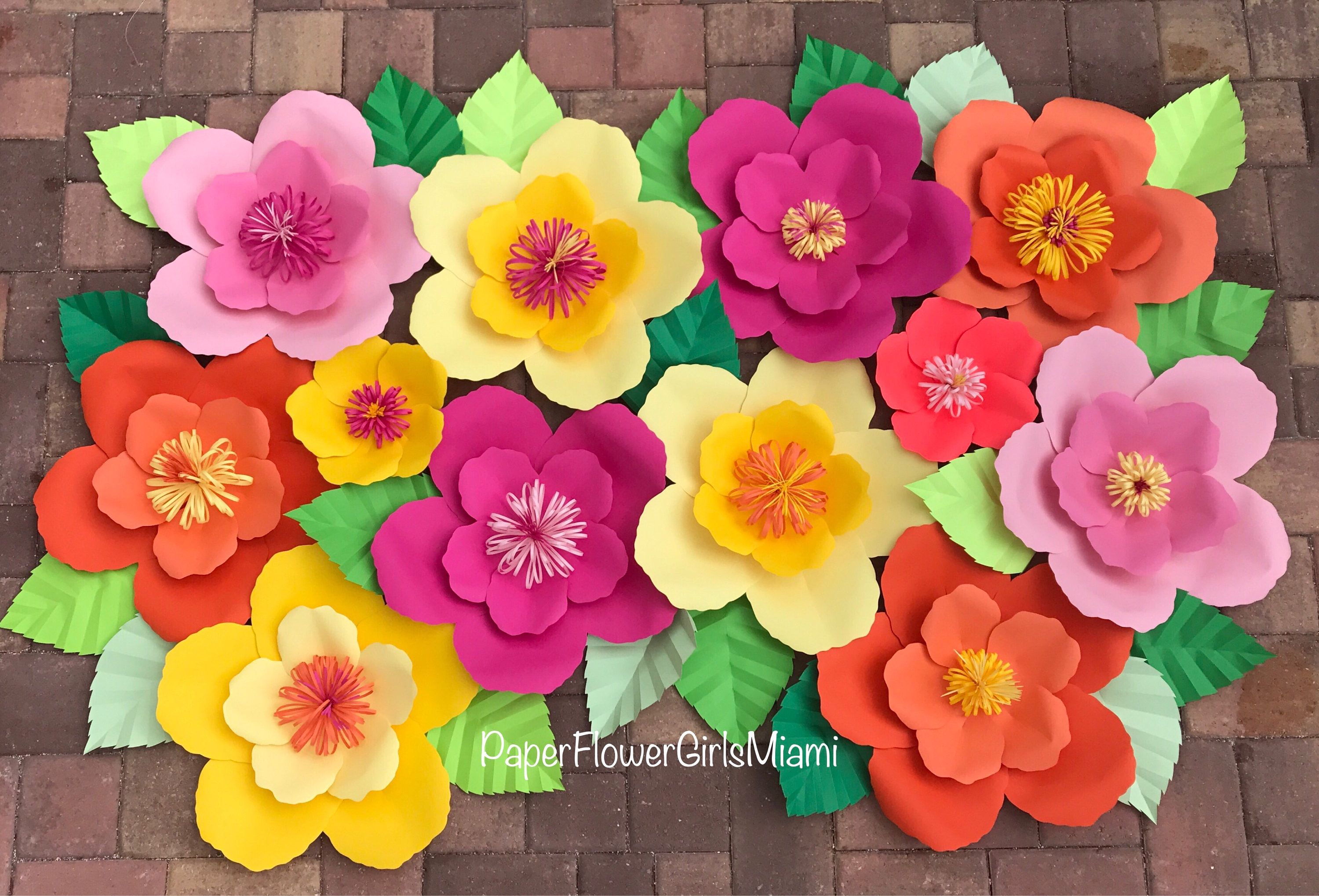 Theme Paper Flower Backdrop Moana Hibiscus Moana Party Paper