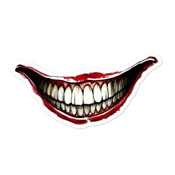 Jokers Smile Stickers 3 Sizes Etsy In 2020 Joker Smile Joker Smile Tattoo Smile Drawing