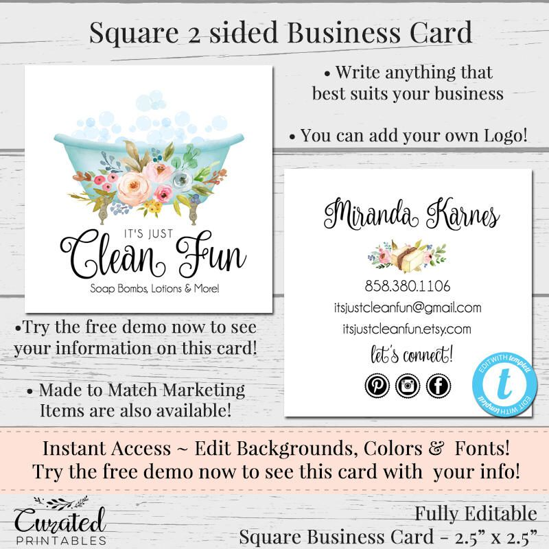 Bathtub Business Card Editable Business Card Square Business Card