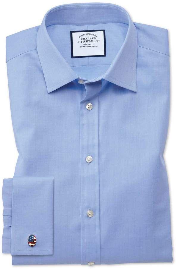 9d0df1e3 Charles Tyrwhitt Classic Fit Fine Herringbone Sky Cotton Dress Shirt French  Cuff Size 15/33