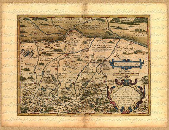 Map of Bavaria Froms The 1500s 159 Ancient Old World Digital Image