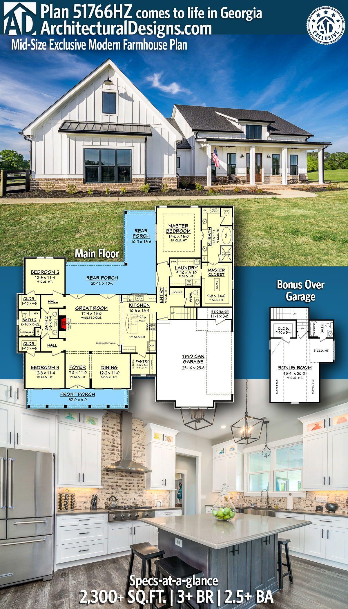 Plan 51766HZ MidSize Exclusive Modern Farmhouse Plan in