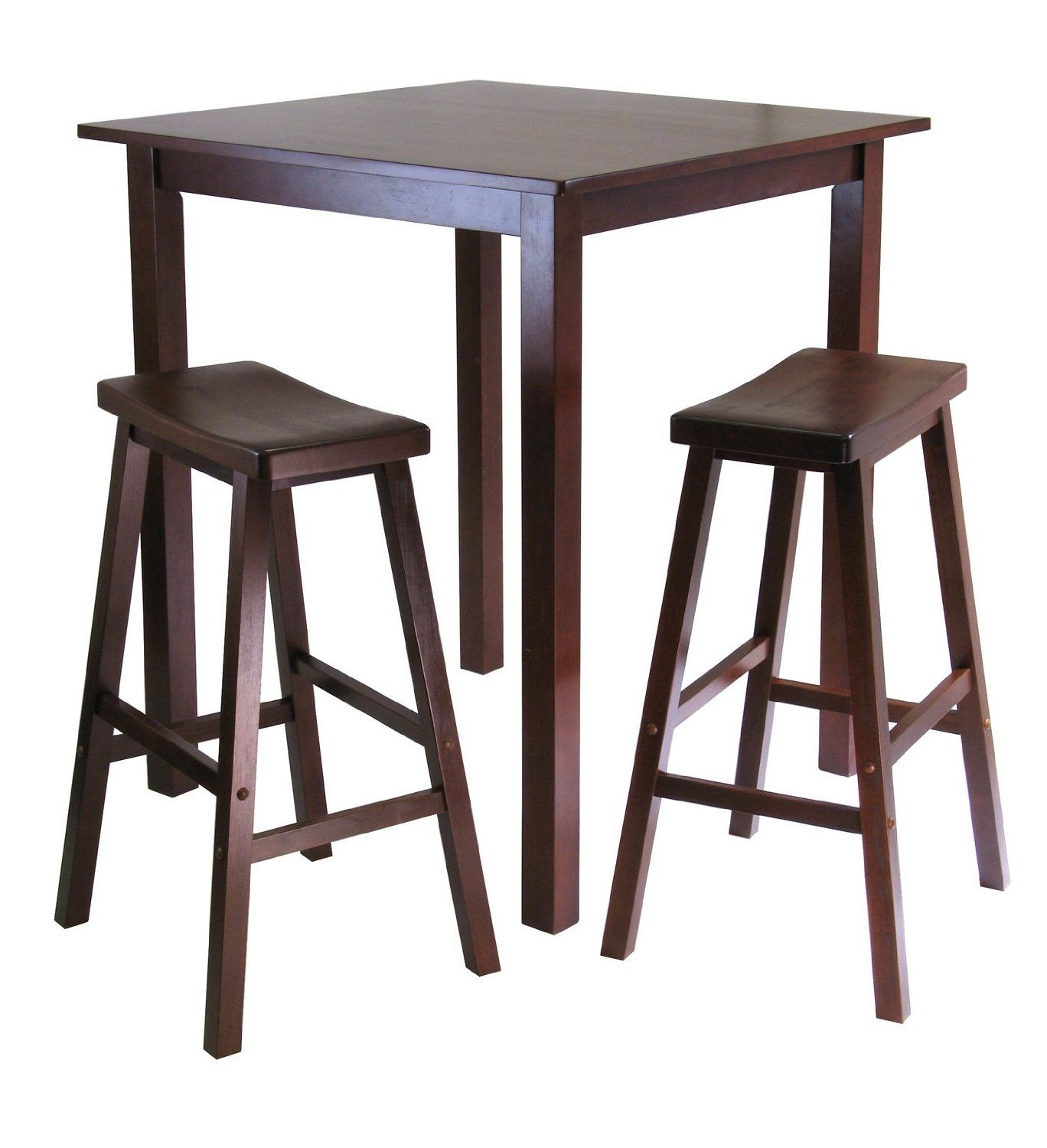 Winsomes Parkland Square High Pub Table Set In Antique Walnut Finish New Made Of Solid Wood With Clean Lines For A