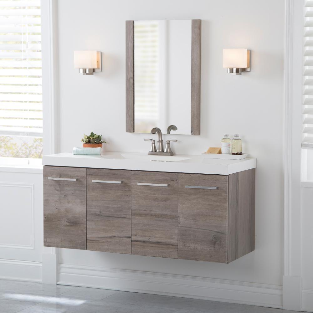 Domani Stella 49 In W X 19 In D Wall Hung Bath Vanity In White
