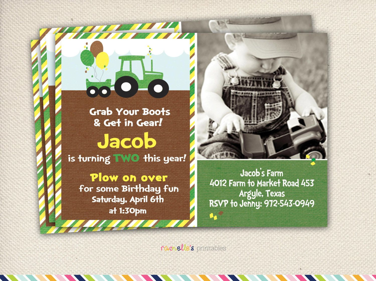John deere party green tractor birthday by rachellesprintables green tractor birthday party invite and thank you cards printable invitations filmwisefo Choice Image