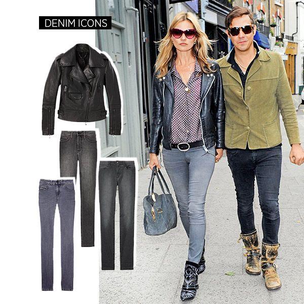 The Style: Denim Guide - Kate Moss Belstaff jacket, True Religion jeans, Joe's jeans, Diesel Black Gold jeans
