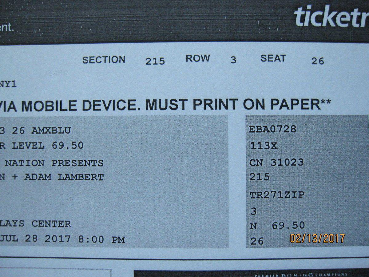 Queen  Adam Lambert Barclays Center New York 7/28 2 Tickets Section 215 row 3  http://dlvr.it/NMlb3Dpic.twitter.com/A4xkIIIOGW