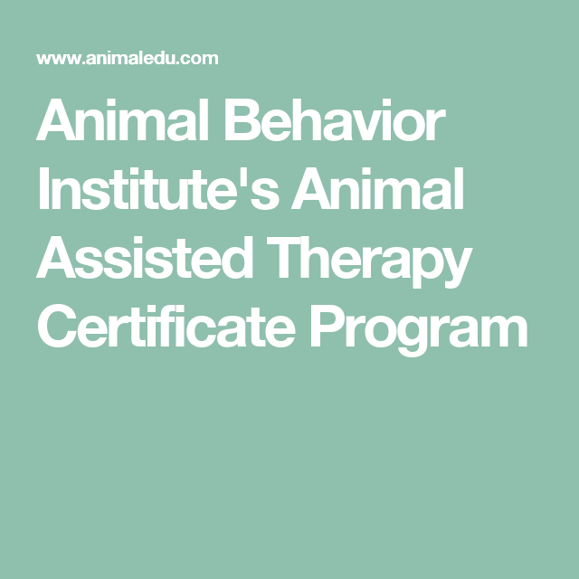 Animal Behavior Institute\'s Animal Assisted Therapy Certificate ...