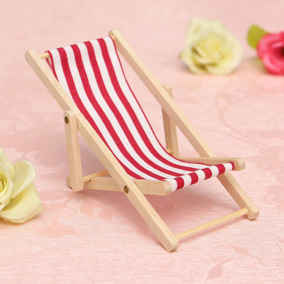 Pink+Dolls+House+1:12+Miniature+Foldable+Wooden+Deckchair+Lounge+Beach+Chair