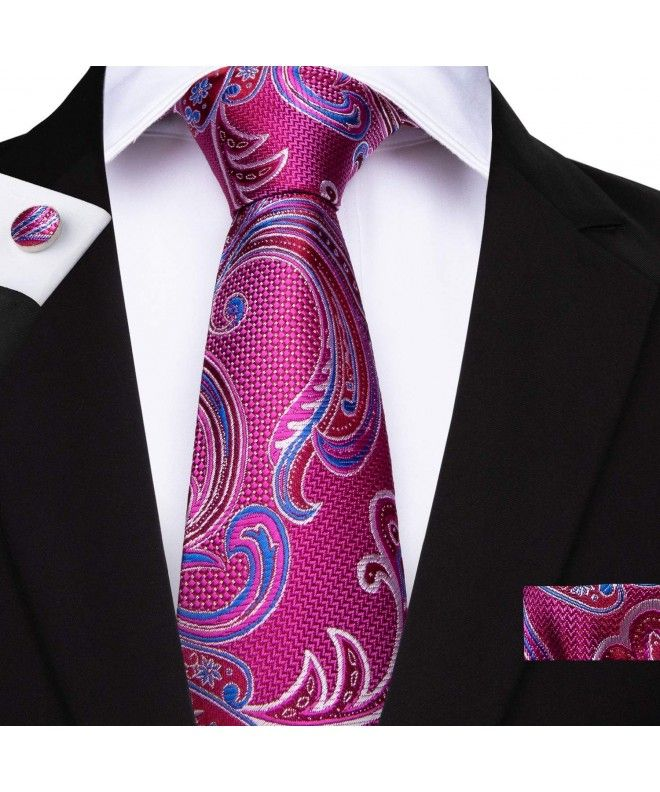 a2f438637060 Paisley Tie and Pocket Square Men's Woven Necktie Silk Handkerchief and  Clip Sets - Fuchsia1 -