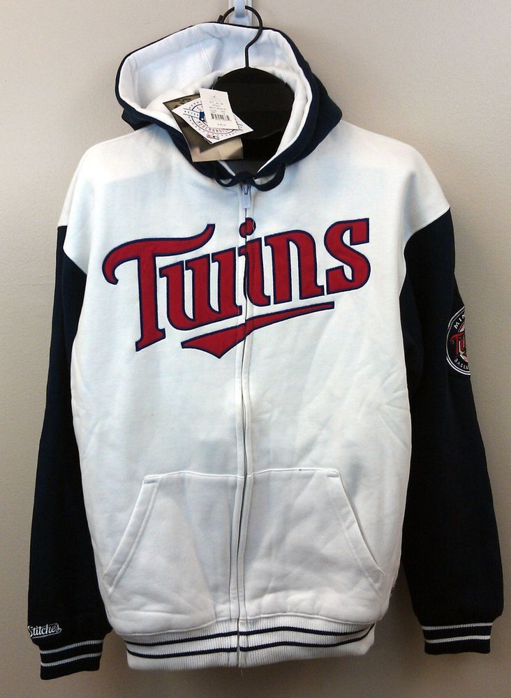 new product b5046 7ab5f Minnesota Twins Hoodie by Stitches White/Navy LARGE Full Zip ...