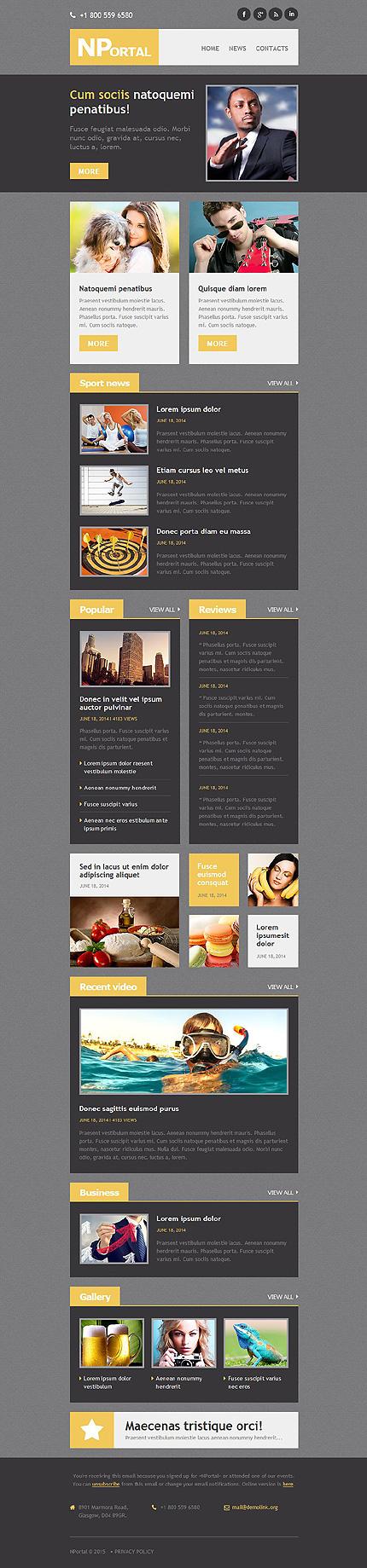 Template 52812 - News Portal Responsive Newsletter Template ...