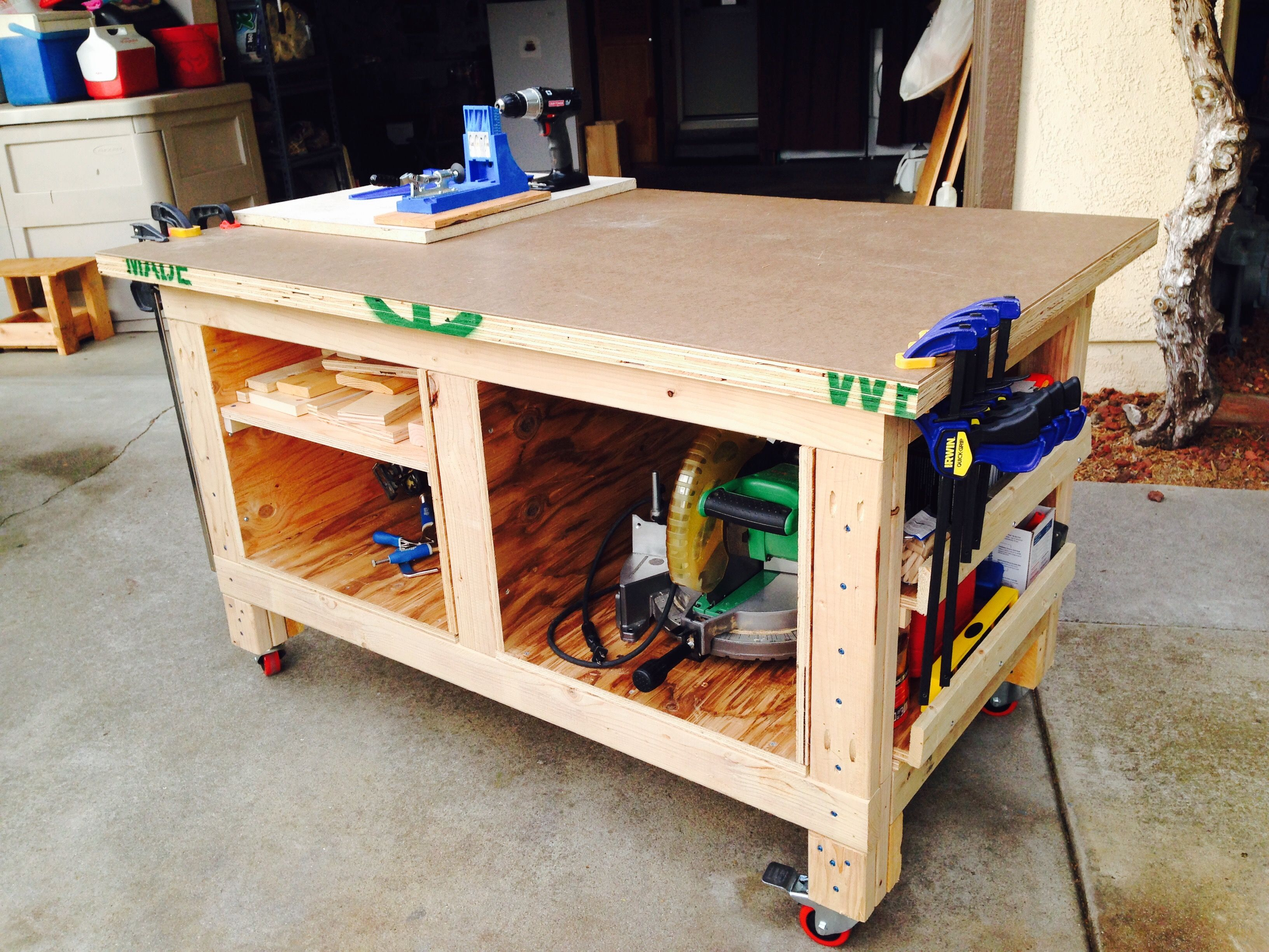 Diy Nice 3 X5 Work Bench I Built I Found The Plans On Pinterest These Plans Are From Steve Ramsey Workbench Diy Woodworking Storage