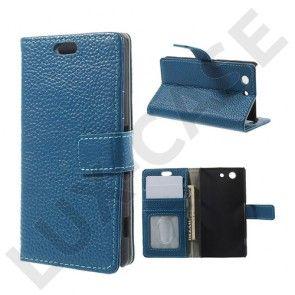Cowhide Sony Xperia Z3 Compact Aito Nahkakotelo – Sininen