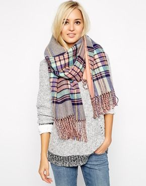 River Island Double Sided Tartan Scarf