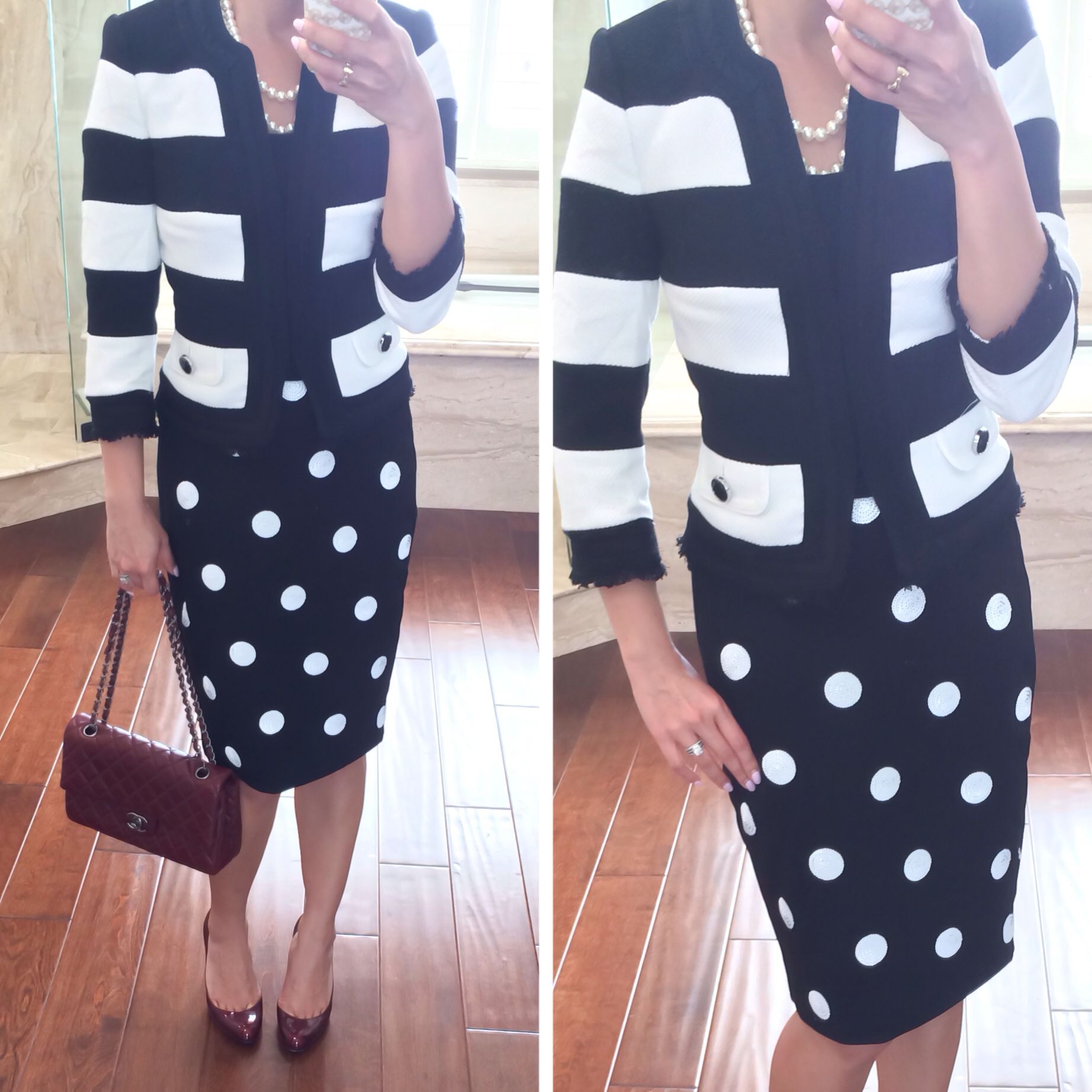 Big polka dot skirt, bold black and white striped jacket top, pearl necklace, burgundy Chanel purse and burgundy pumps - dressy outfit // StylishPetite.com