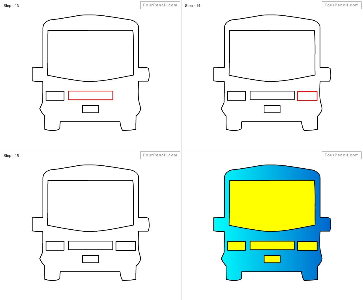 Chair drawing for kids - How To Draw Bus For Kids Step By Step Drawing Tutorial Draw Bus For Kids