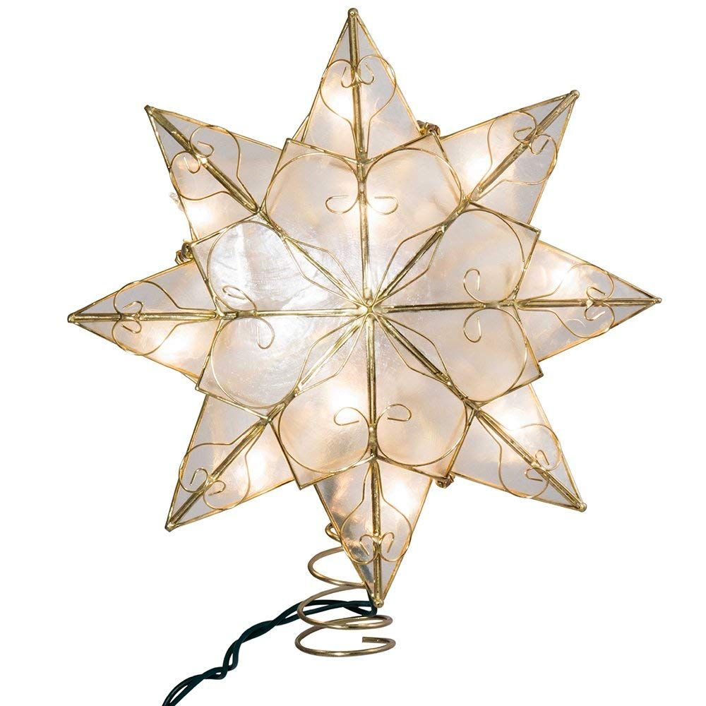 Kurt Adler 10-Light 8-Point Gold Capiz Star Treetop