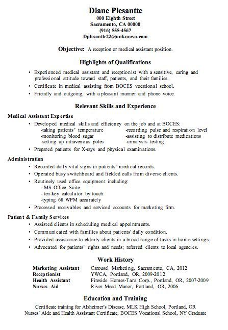 the resume skills search names and then career sample medical - Marketing Assistant Resume Sample