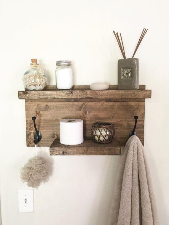 Rustic bathroom towel rack rustic shelf farmhouse decor in
