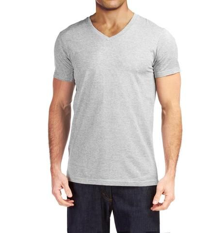 6ecb5aab37f9f8 V-Neck Basic Muscle Fitted Plain T-Shirt - Heather Grey - Muscle Fit Basics  - 4