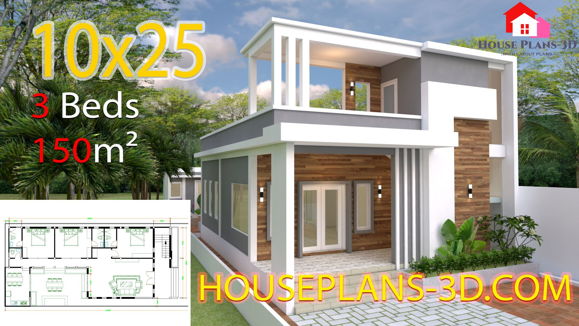 House Design Plans 10x25 With 3 Bedrooms House Plans 3d Small House Design Plans House Plans Home Design Plans