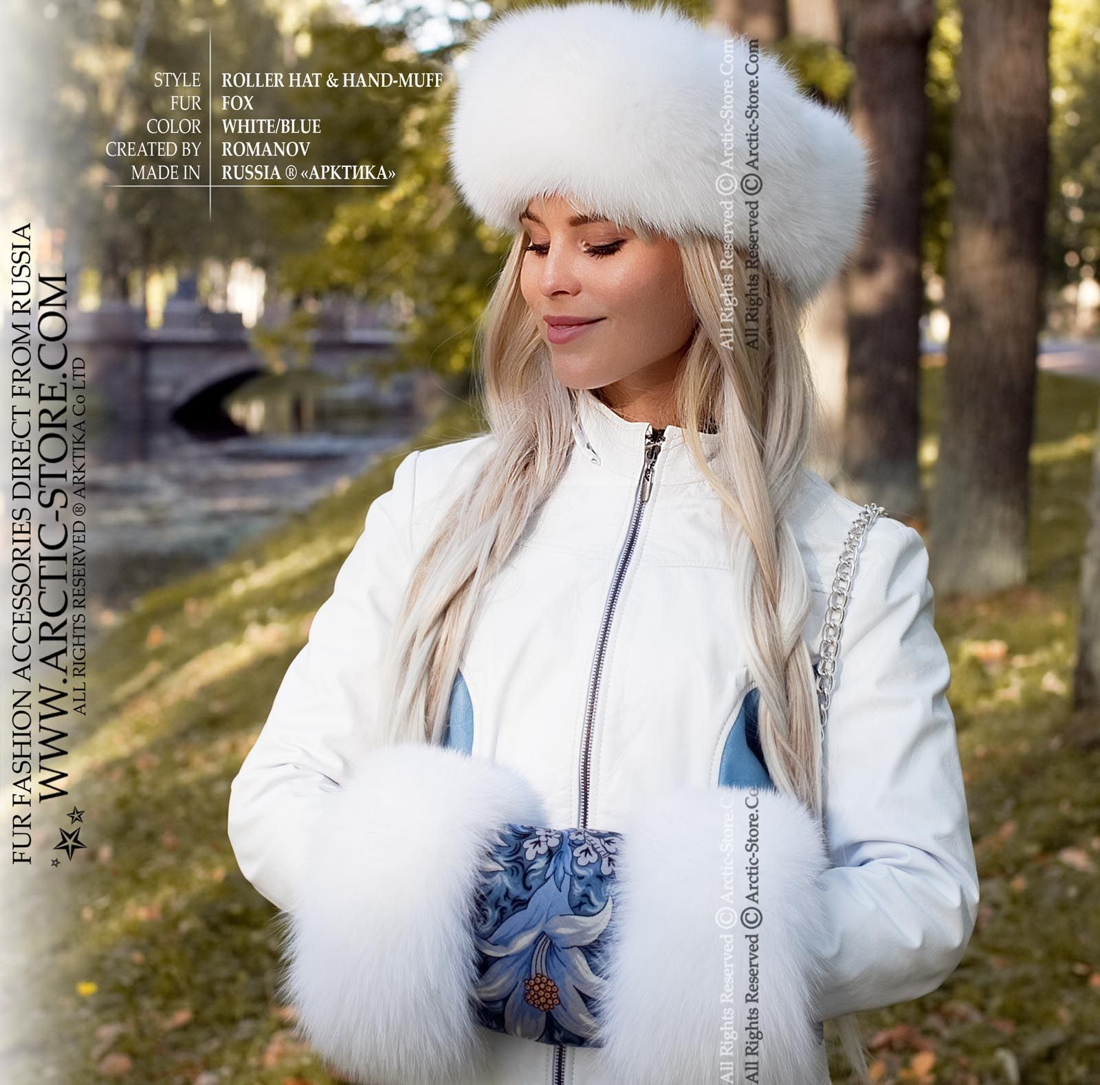 b30272cae82 We present our original Russian set updated with the absolutely White  shadow fox fur and Pavlovo Posad woolen shawl. The Roller model fur hat  features a ...