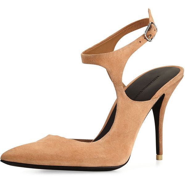 Alexander Wang Stefania Suede Open-Side Pump ($500) ❤ liked on Polyvore featuring shoes, pumps, sandstrom, pointed-toe pumps, suede shoes, high heels stilettos, pointy toe stiletto pumps and heels stilettos