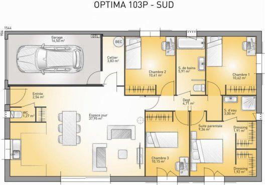 Plan maison neuve à construire - Maisons France Confort Optima 103 P - plan maison france confort