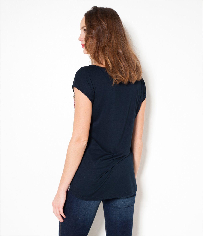 Women's printed T-shirt Marine TL - Tee shirt Womenswear Camaieu
