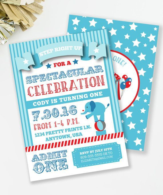 Circus Birthday Invitation, Carnival Birthday Party